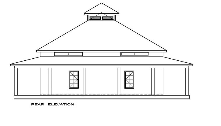 Cottage, Florida, Southern House Plan 57895 with 2 Beds, 2 Baths Rear Elevation