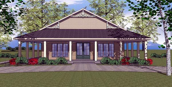 Cottage , Florida , Southern House Plan 57896 with 2 Beds, 2 Baths Elevation