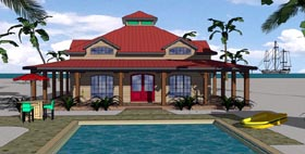 Cottage , Florida , Southern House Plan 57897 with 2 Beds, 2 Baths Elevation