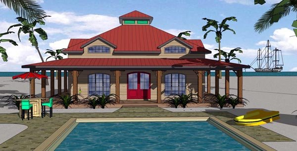 Cottage Florida Southern Elevation of Plan 57897