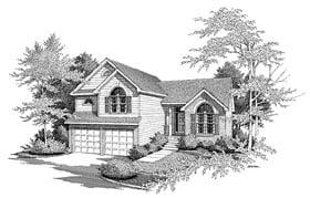 European House Plan 58000 with 3 Beds, 3 Baths, 2 Car Garage Elevation