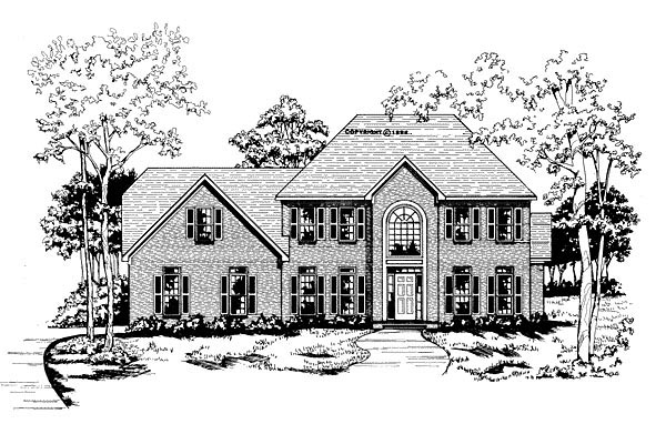 Traditional House Plan 58001 with 4 Beds, 3.5 Baths, 2 Car Garage Elevation