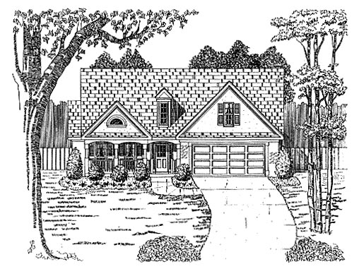 Traditional House Plan 58002 with 2 Beds, 2 Baths, 2 Car Garage Elevation