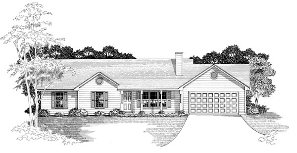 Ranch House Plan 58006 with 3 Beds, 2 Baths, 2 Car Garage Elevation