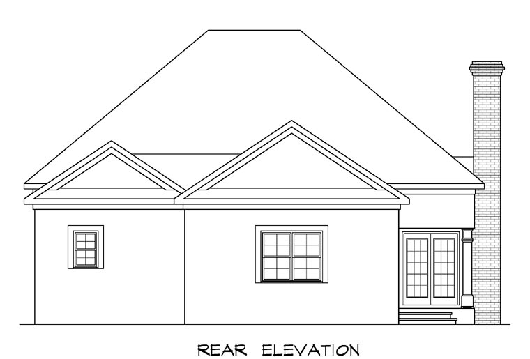 Traditional House Plan 58007 Rear Elevation