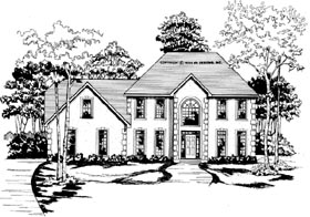Traditional House Plan 58008 with 4 Beds, 3.5 Baths, 2 Car Garage Elevation