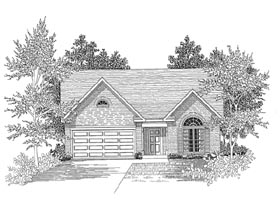 House Plan 58015 | Traditional Style Plan with 1344 Sq Ft, 3 Bedrooms, 2 Bathrooms, 2 Car Garage Elevation