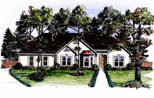 House Plan 58019 | Traditional Style Plan with 1802 Sq Ft, 3 Bedrooms, 2 Bathrooms, 2 Car Garage Rear Elevation