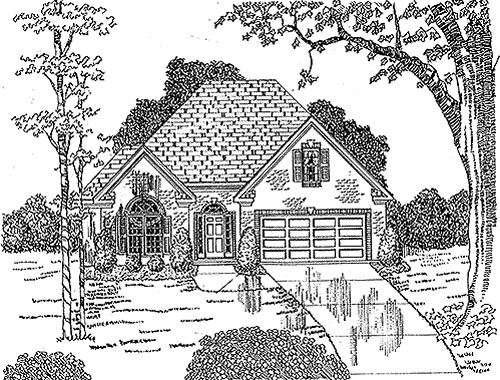 House Plan 58022 | European Style Plan with 1843 Sq Ft, 2 Bedrooms, 2 Bathrooms, 2 Car Garage Elevation