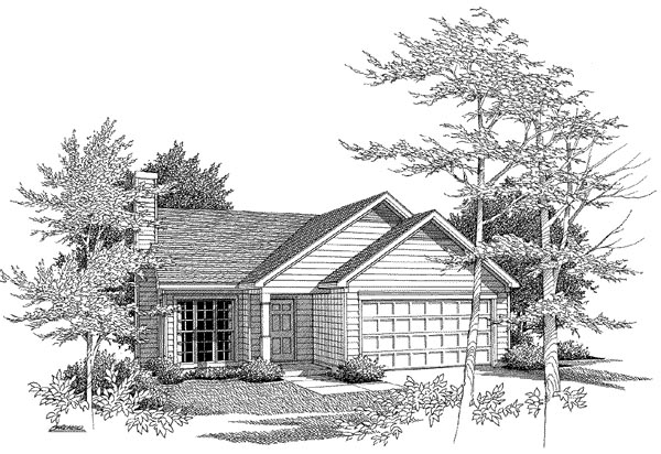House Plan 58023 | Traditional Style Plan with 1271 Sq Ft, 3 Bedrooms, 2 Bathrooms, 2 Car Garage Elevation