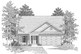 House Plan 58024 | Traditional Style Plan with 1489 Sq Ft, 3 Bed, 2 Bath, 2 Car Garage Elevation