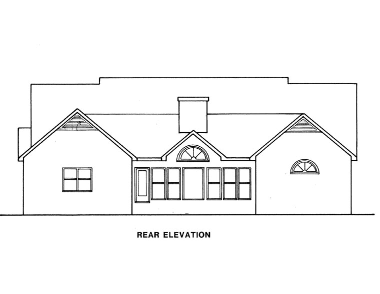 Ranch House Plan 58026 Rear Elevation