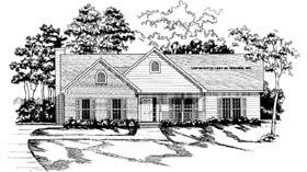 House Plan 58028 | Traditional Style Plan with 1643 Sq Ft, 3 Bedrooms, 2 Bathrooms, 2 Car Garage Elevation