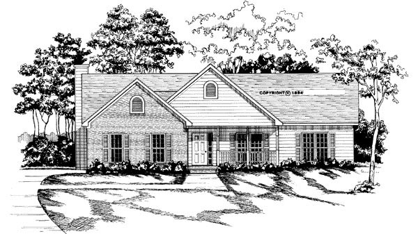 Traditional House Plan 58028 with 3 Beds, 2 Baths, 2 Car Garage Elevation