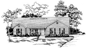 House Plan 58029 | Traditional Style Plan with 1756 Sq Ft, 3 Bedrooms, 2 Bathrooms, 2 Car Garage Elevation