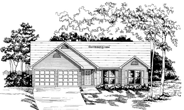 Ranch House Plan 58034 with 3 Beds, 2 Baths, 2 Car Garage Elevation
