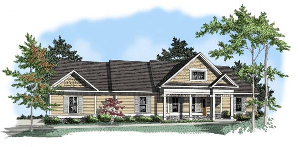 Country House Plan 58036 with 3 Beds, 2 Baths, 2 Car Garage Elevation