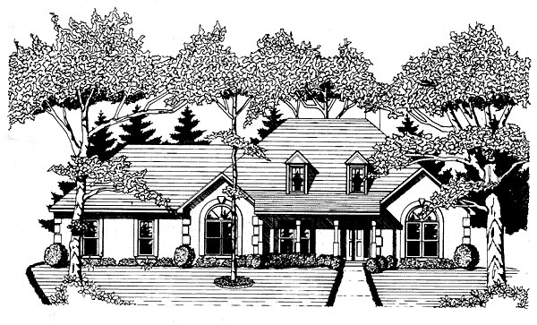 House Plan 58037 | European Style House Plan with 1802 Sq Ft, 3 Bed, 2 Bath, 2 Car Garage Elevation