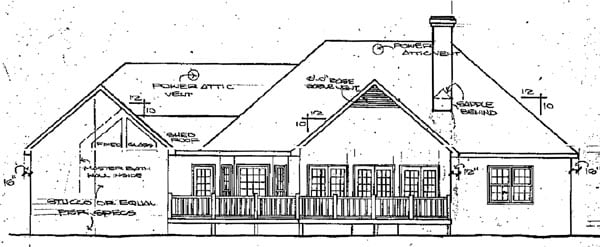 European House Plan 58038 Rear Elevation