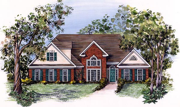 Traditional House Plan 58040 with 3 Beds, 2 Baths, 2 Car Garage Elevation