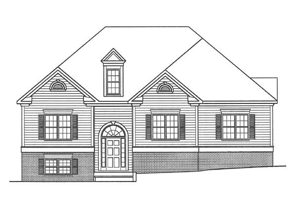 Traditional House Plan 58044 with 3 Beds, 2.5 Baths, 2 Car Garage Elevation