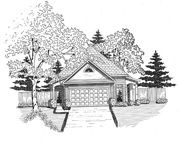 Ranch House Plan 58046 with 2 Beds, 2 Baths, 2 Car Garage Elevation