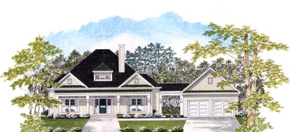 House Plan 58051 | Traditional Style House Plan with 1955 Sq Ft, 3 Bed, 3 Bath, 2 Car Garage Elevation