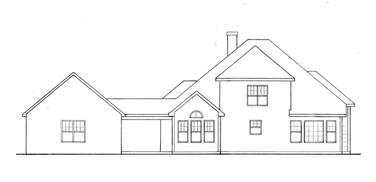 House Plan 58051 | Traditional Style House Plan with 1955 Sq Ft, 3 Bed, 3 Bath, 2 Car Garage Rear Elevation