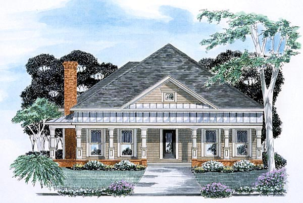 One-Story, Traditional House Plan 58053 with 3 Beds, 3 Baths, 2 Car Garage Elevation