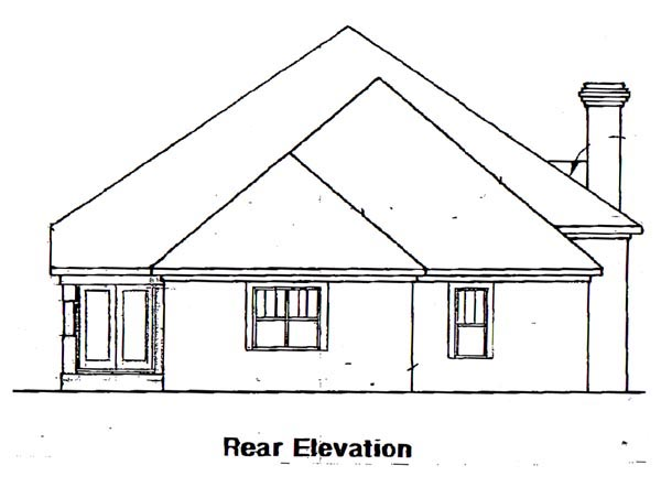 One-Story, Traditional House Plan 58053 with 3 Beds, 3 Baths, 2 Car Garage Rear Elevation