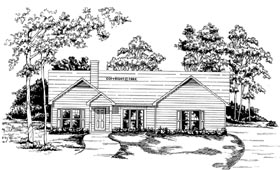 House Plan 58056 | Ranch Style Plan with 1374 Sq Ft, 3 Bedrooms, 2 Bathrooms, 2 Car Garage Elevation
