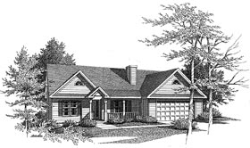 Traditional House Plan 58057 with 3 Beds, 2 Baths, 2 Car Garage Elevation