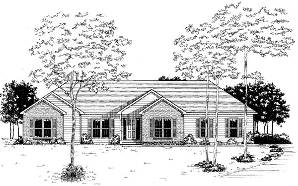 House Plan 58059 | Ranch Style Plan with 1842 Sq Ft, 3 Bedrooms, 2 Bathrooms, 2 Car Garage Elevation