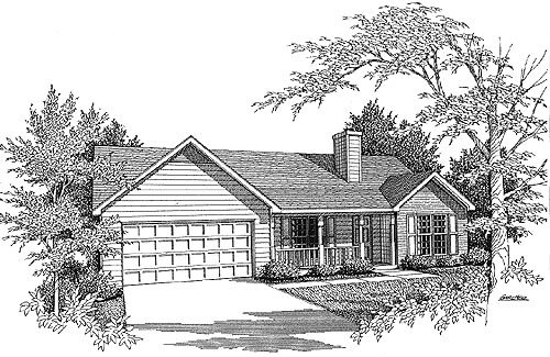 Traditional House Plan 58065 with 3 Beds, 2 Baths, 2 Car Garage Elevation