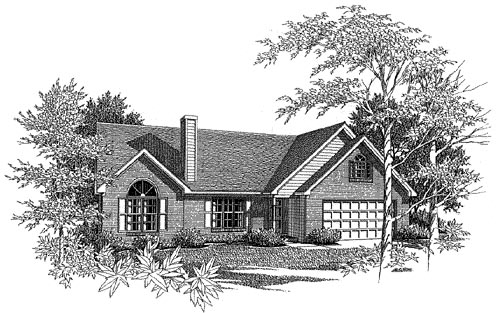 Traditional House Plan 58066 with 3 Beds, 2 Baths, 2 Car Garage Elevation