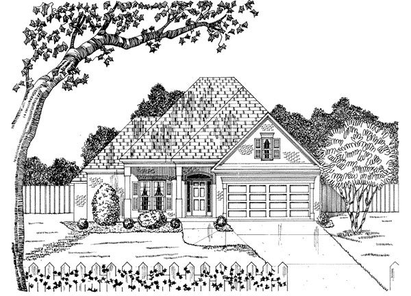 Traditional House Plan 58068 with 2 Beds, 2 Baths, 2 Car Garage Elevation