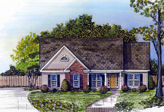 Traditional House Plan 58071 with 3 Beds, 2 Baths, 2 Car Garage Front Elevation