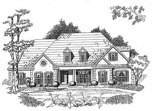 Traditional House Plan 58076 with 4 Beds, 3 Baths, 2 Car Garage Elevation