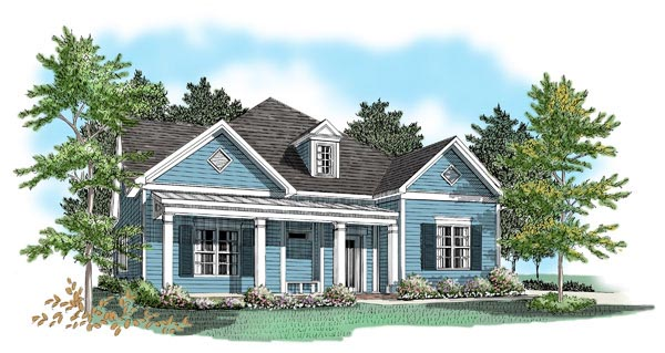 House Plan 58077 with 3 Beds, 2.5 Baths, 2 Car Garage Elevation
