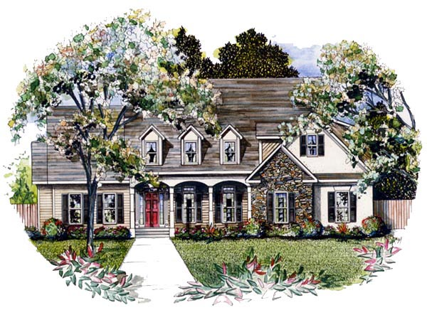 Cape Cod House Plan 58086 with 4 Beds, 4 Baths, 2 Car Garage Elevation