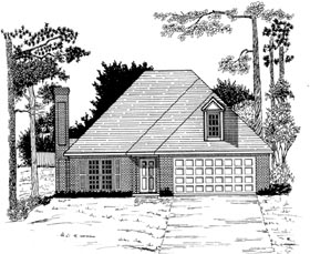 House Plan 58088 | Style House Plan with 1467 Sq Ft, 3 Bed, 2 Bath, 2 Car Garage Elevation