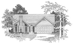 Ranch House Plan 58089 with 3 Beds, 2 Baths, 2 Car Garage Elevation