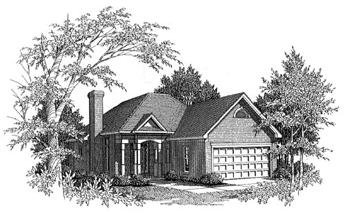 Traditional House Plan 58093 with 2 Beds, 2 Baths, 2 Car Garage Elevation