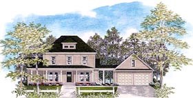 Colonial House Plan 58094 with 3 Beds, 2.5 Baths, 2 Car Garage Elevation