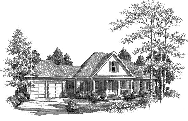 Traditional House Plan 58103 with 3 Beds, 3.5 Baths, 2 Car Garage Elevation