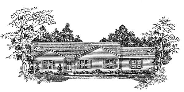 Ranch House Plan 58104 with 3 Beds, 2 Baths, 2 Car Garage Elevation