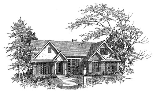 Traditional House Plan 58115 with 3 Beds, 2 Baths, 2 Car Garage Elevation