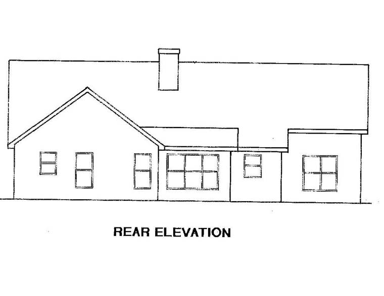 Traditional House Plan 58115 with 3 Beds, 2 Baths, 2 Car Garage Rear Elevation