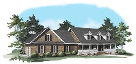 Country House Plan 58117 with 3 Beds, 2.5 Baths, 2 Car Garage Elevation