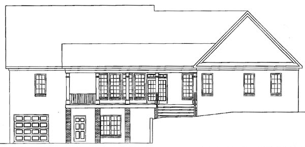 Country House Plan 58117 with 3 Beds, 2.5 Baths, 2 Car Garage Rear Elevation